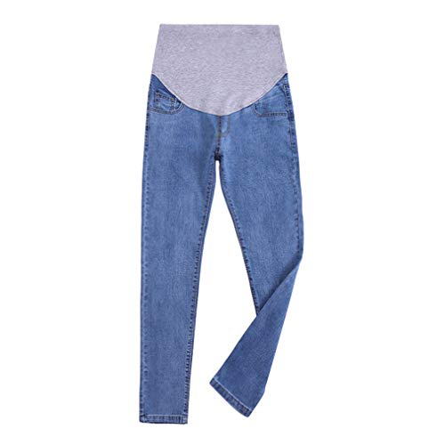 Pantaloni Premaman Prenatal, Premaman Jeans Donna, Pantaloni da Gravidanza, Maternity Jeans Elastico a Vita Alta Azzurro/L