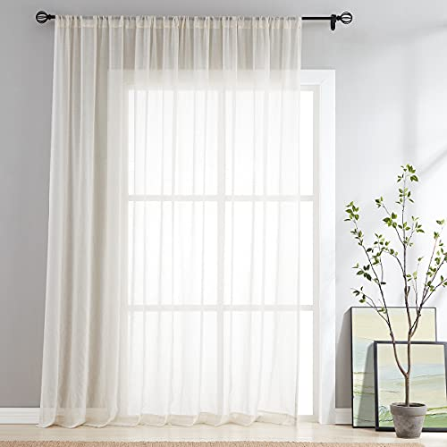 """Flax-Linen Sheer Sliding Door Curtains 84inch Patio Glass Door Curtain Panels 100"""" Extra Wide Window Drapes 7ft 1Panel Rod Pocket Natural"""