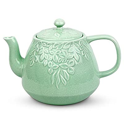 Toptier Leaf Teapot, Porcelain Tea Pot with Stainless Steel Infuser, Blooming & Loose Leaf Teapot, 37 Ounce, Light Green