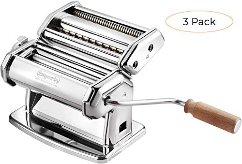 Imperia Pasta Maker Machine - Heavy Duty Steel Construction w Easy Lock Dial and Wood Grip Handle- Model 150 Made in Italy (Thrее Расk)