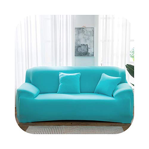 Onln 2021 Elastic Solid Color Sofa Cover Spandex Modern All-Inclusive Sofa SlipCover for Living Room Stretch Couch Covers 1/2/3/4 Seater-Skype Blue-Pillow Casex2 45x45