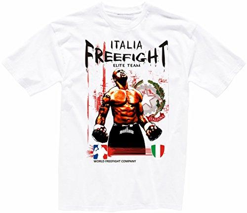 "Shirtzshop - Camiseta de manga corta, diseño con texto en inglés ""aprom Italia FREEFIGHT"" Blanco XL"