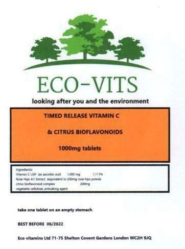 ECO-VITS TIMED Release Vitamin C & Citrus BIOFLAVANOID 30 TABS. Biodegradable Packaging. Sealed Pouch