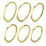 Zysta 6 Pezzi Acciaio Inossidabile Anelli Impilabili di Modo per Donne Ragazze 1mm Sottile Knuckle Ring Midi Band Misura Adatta 4-9 Oro