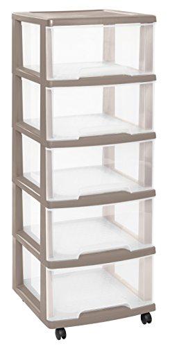 CURVER | Tour de rangement Essentials 5 Tiroirs 20L, Taupe, 37,1 x 38,9 x 105 cm, Plastique