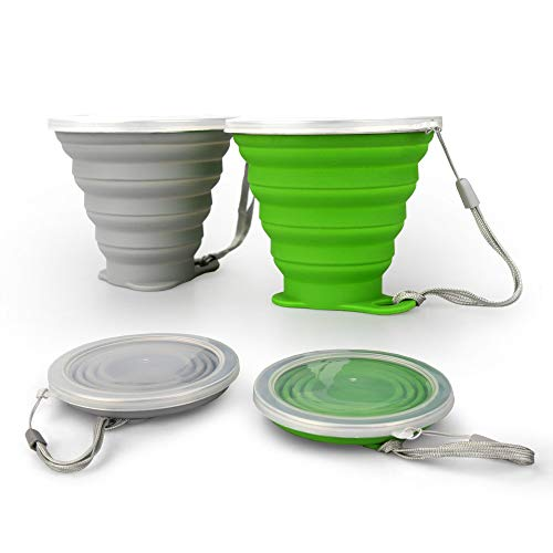 Stellar Collapsible Camping Cups w Lid | 270ml/9.12fl Oz | BPA Free, Food-Grade Silicone | Pack of 2 (Grey & Green) Foldable Cups | Travel Mug for Camping Hiking Travel