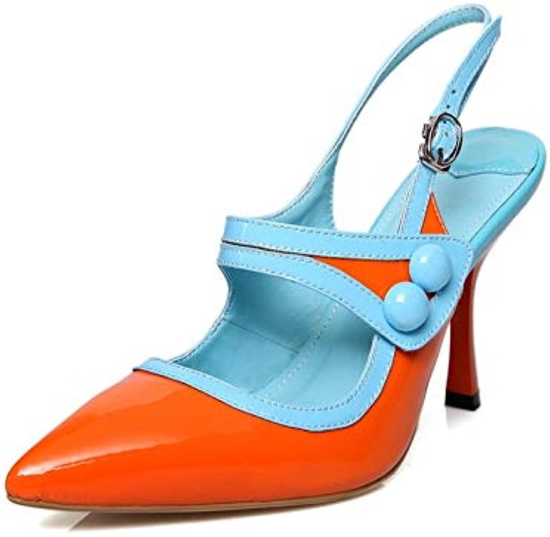 HOESCZS Echtes Leder Mischfarben Dünne High Heels Heels Schnalle Schuhe Frau Sommer Sandalen,  einfaches und großzügiges Design