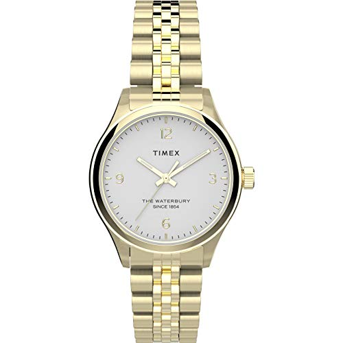 Timex Women's Waterbury Traditional 34mm Watch – Gold-Tone & White with Gold-Tone Stainless Steel Bracelet