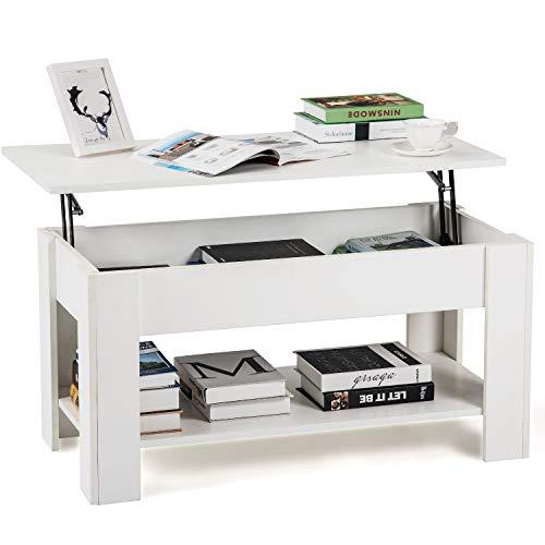 QWEPOI Mesa de salón, mesa de café de madera, moderna mesa de...