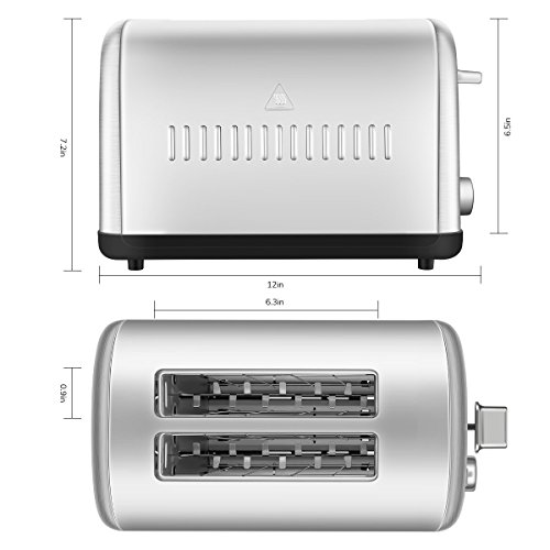 2 Slice Toaster, Chitomax Extra Wide Slot Toasters 2 Slice 7 Brown Settings and Removable Crumb Tray, Stainless Steel Toasters, Silver