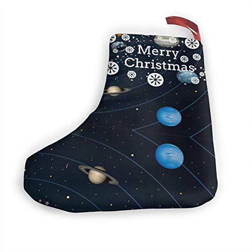 JONINOT Sternenhimmel Planet 10 in Weihnachtsstrümpfen Weihnachtskamin Hängende Strümpfe Dekoration für Weihnachtsfeier-Accessoire (2 Stück)