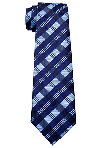 Corbata de tartán con estampado de cuadros para niños de 8 a 10 años, varios colores - Azul - 8-10 años
