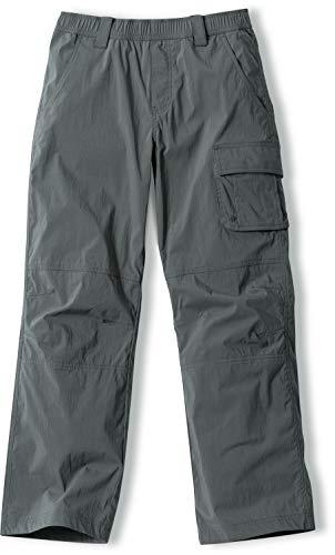 CQR Kids Youth Hiking Cargo Pants, Outdoor Camping Pants, UPF 50+ Quick Dry Regular Pants, Regular Driflex Charcoal, 20
