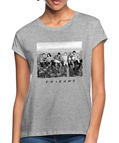 Friends New York T-Shirt Oversize Femme, M, Gris chiné