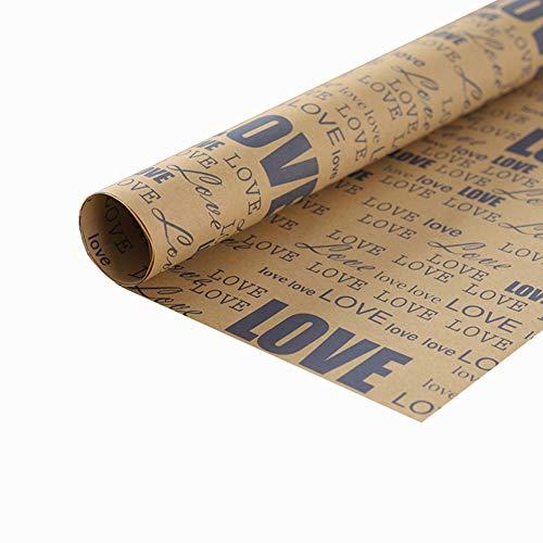 Zhou-WD Inglés Carta de Papel de Embalaje, Papel Kraft Retro Vintage Papel Amarillo Periódico de Envolver 74 * 52cm Origami (Color : 4, Size : 52 * 74CM)