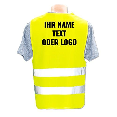 Hochwertige Warnweste mit Leuchtstreifen * Bedruckt mit Name Text Bild Logo Firma * personalisiertes Design selbst gestalten, Druckposition:Rücken + Linke Brust, Farbe Warnweste:Gelb (3XL)