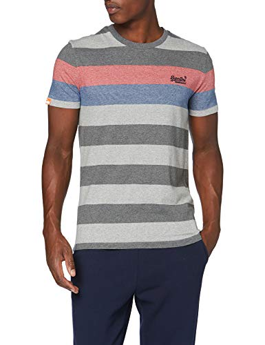 Superdry Herren OL Hoop Stripe Tee Freizeithemd, Grau (Mid Charcoal Marl 3CD), Medium
