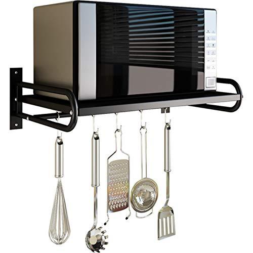 LYQQQQ Almacenamiento De Cocina Estante de Almacenamiento Multifuncional de Montaje en Pared para Estante de Cocina (Color : Black, Size : 58cm)