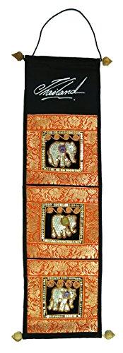 Guru-Shop Brokaatwandtas met 3 Compartimenten uit Thailand - Monster 1, Veelkleurig, Kleur: Oranje, 80x17 cm, Wandzakken Wandkleden