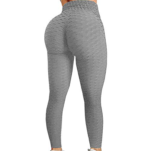 iddolaka High Waisted Yoga Pants for Women, Tummy Control Ruched Bubble Hip Butt Lifting Workout Tight Seamless Booty Leggings (A-Gray, Large)