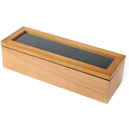 YIJIN Caja de Reloj con Organizador de Caja, Caja de Madera con Ranura para Hombres y Mujeres, Estilo Vintage con Tapa de Vidrio