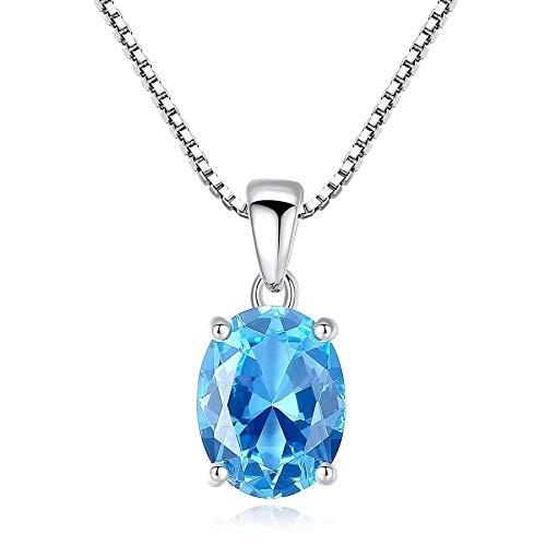 Colgante de piedra de topacio azul cielo 2,3 quilates forma ovalada solitario Topacio natural 925 collar de cadena de plata esterlina para mujer