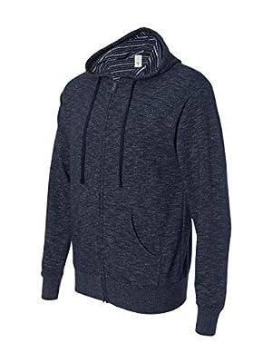Baja Stripe French Terry Full-Zip Hood, Azul Marino Clasico, XL