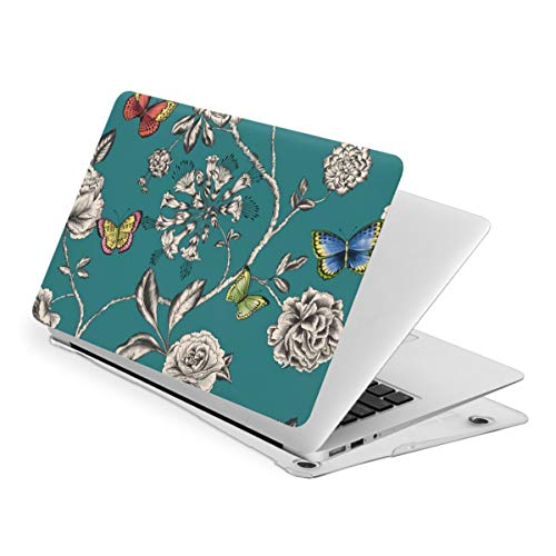 Buterfly and White Flowers MacBook Air 13 Inch Case Slim Fits with A1466 A1369 Hard Shell Protective Cover Compatible with Apple Mac Air 13