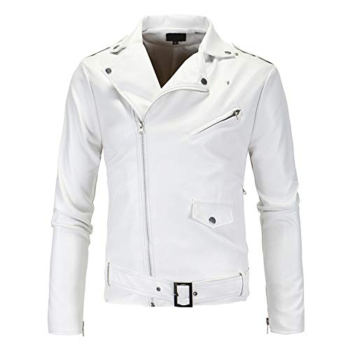 AOWOFS Men's Faux Leather Jacket White Fashion Belt Punk Motorcycle Zip Coat