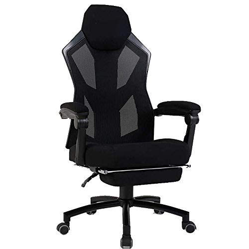 WSDSX Office Chairs Gaming Chair Computer Chair Ergonomic Gaming Chairs Adult with Footrest High Back (Color : Black)