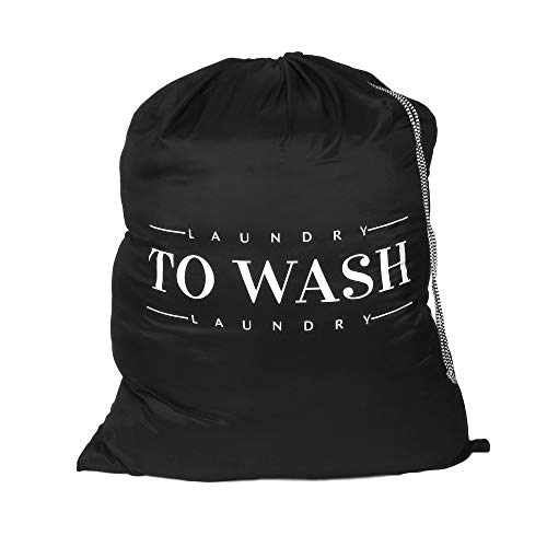 Oussum Travel Laundry Bag Dirty Laundry Bags Heavy Duty Polyester Laundry Bag Machine Washable Large Dirty Clothes Organizer with Backpack Drawstring (Black-to Wash)