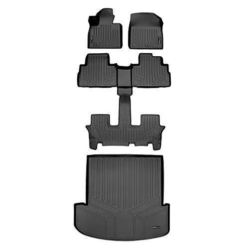 SMARTLINER All Weather Custom Fit Black 3 Row & Cargo Liner Behind the 2nd Row Floor Mat Liner Set Compatible With 2020-2022 Kia Telluride with 2nd Bucket Seats Without Center Console