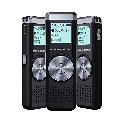 Voice Recorder for lectures Portable Recorder Small Tape Recorder with MP3 IIDA 8GB Audio Recorder Digital Voice Activated Sound Recorder USB Mini dictaphone Playback