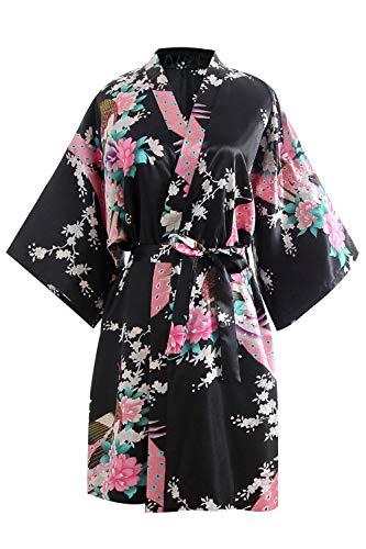 OLESILK Damen Kurz Morgenmantel Satin Kimono Morgenrock Kurzarm Robe Bademantel mit Gürtel V-Ausschnitt Nachtwäsche Negligee mit Pfau und Blumen Muster, Schwarz