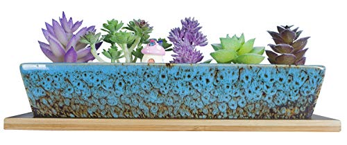 Artketty 9.8 Inch Ceramic Succulent Planter Pots, Modern Long Rectangle Flower Plant Containers with Bamboo Trays, Mini Cactus Bonsai Window Box with Drainage for Indoor/Outdoor Home Decor(Blue)