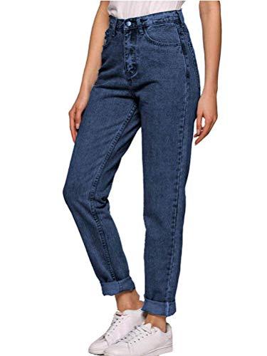 ORANDESIGNE Damen Jeans Boyfriend Hoher Bund Jeanshose Locker Lang Boyfriend Jeans Blau Hose Jeans Straight Lässig Weich B Dunkelblau S