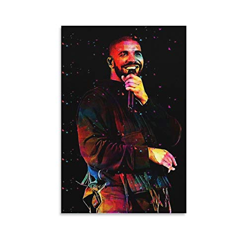 Drake Hip-pop Rapper Singer Poster Decorative Oil Painting Canvas Wall Art Living Room Posters Bedroom Painting 24×36inchs(60×90cm)