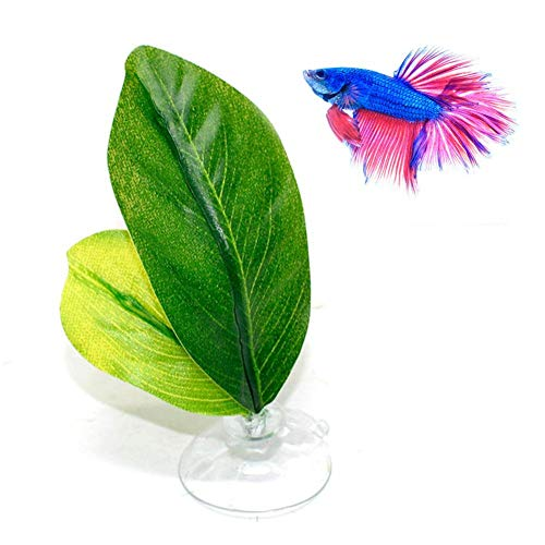 Clevoers Aquarium Künstliche Pflanzen Betta Hängematte, Betta Fish Leaf Pad Hohe Simulation Blatt Ungiftig Umweltfreundlich Betta Hängematte Fish Rest Aquariums Decor Supplies