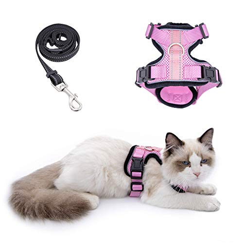 Cat Harness and Leash for Walking, Outdoor Escape Proof Pet Vest for Cats, Small Dogs and Rabbit, Comfortable Breathable Soft Mesh with Bright Reflective Straps, Easy Adjustable Neck and Chest Size