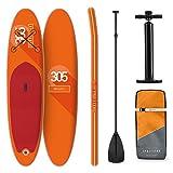 Tabla Paddle Surf Hinchable - SPREESTAR 305x10x77 cm Sup Surf, Paddleboard, Bomba Aire, Pala, Correa de Seguridad, Mochila de Transporte, Kit reparación, Naranja, DropStitch Technology