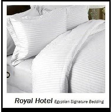 Royal Hotel California-King White Cotton-Blend Wrinkle-Free Sheets 650-Thread-Count Stripe Sheet Set