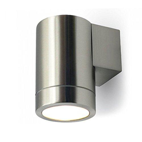 LED Wandleuchte außen Wandlampe, Außenleuchte Downlight 1-Flammig Edelstahl Form:F IP44 GU10-230V (Inkl. LED-Leuchtmittel warmweiß)