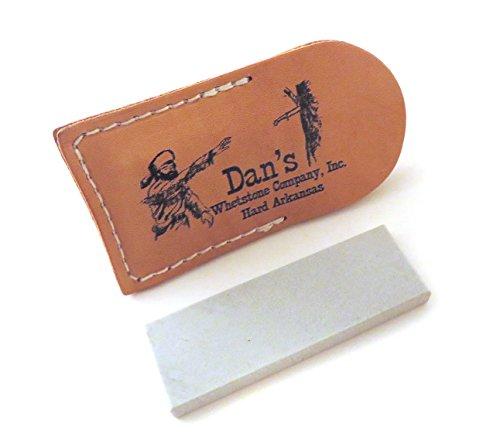 "Genuine Arkansas Hard (Fine) Pocket Knife Sharpening Stone Whetstone 3"" x 1"" x 1/4"" in Leather Pouch FAP-13A-L"