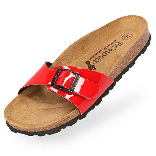 BOnova Damen Pantoletten Teneriffa in Lack rot 36, modischer Einriemer mit Korkfußbett - komfortable Sandalen zum Wohlfühlen - hergestellt in der EU