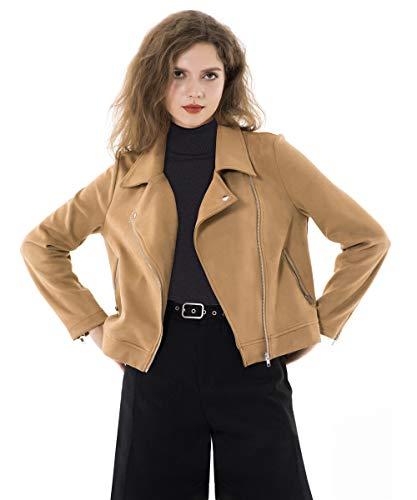 Apperloth Women's Solid Long Sleeve Faux Suede Zipper Short Coat Jacket