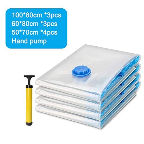 Haplws Vacuum bag with hand pump, vacuum storage bag travel vacuum reusable for duvets blankets clothes pillows