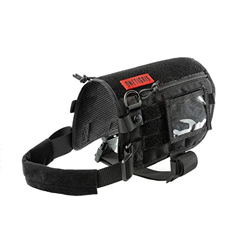 Service Dog Harness, Large Dog Harness Removable Neck Strap Compatible with Assistance Harness & Handle (Black, Short Version)