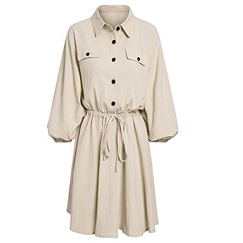 Dihope, jurk van linnen, katoen, zomer, dames, chique, lange mouwen, eenkleurig, casual