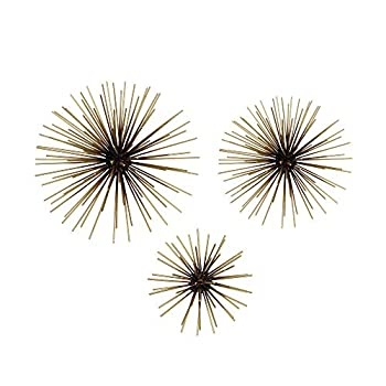 MOTLEY LANE Set of 3 Black and Gold Starburst Metal Wall Art - Modern Chic Hanging Sculptures for Living Room Office Bedroom & Study - Contemporary Abstract Decoration - Birthday Housewarming Gift