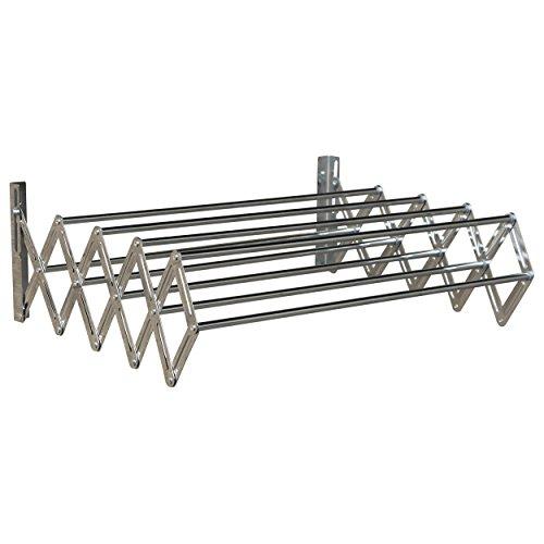 MSV Scherenwäschetrockner ausziehbar 7.2m aus Stahl, Silber, 80x66x18.5 cm